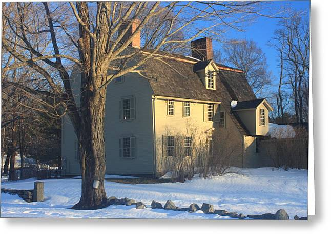Concord Greeting Cards - Old Manse Concord in Winter Greeting Card by John Burk