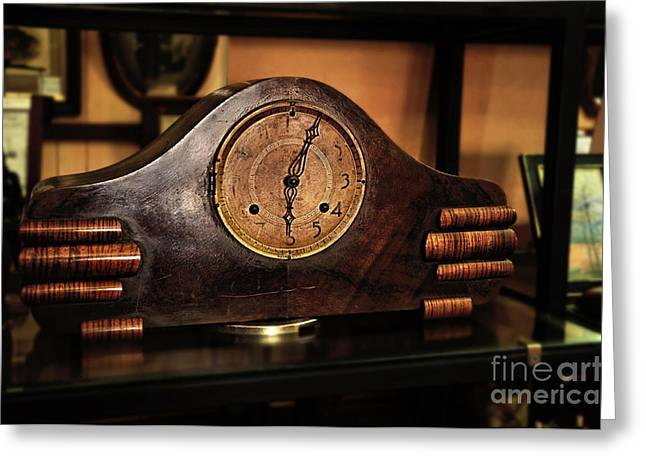 Hand On Face Greeting Cards - Old Mantelpiece Clock Greeting Card by Kaye Menner