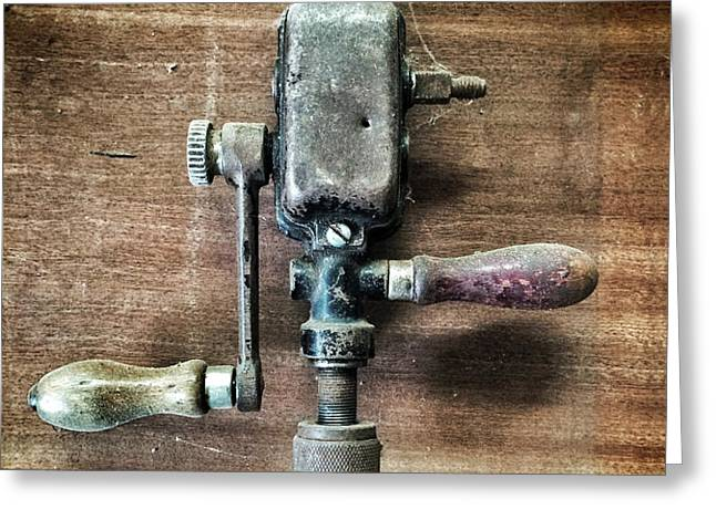 Old Manual Drill Greeting Card by Carlos Caetano