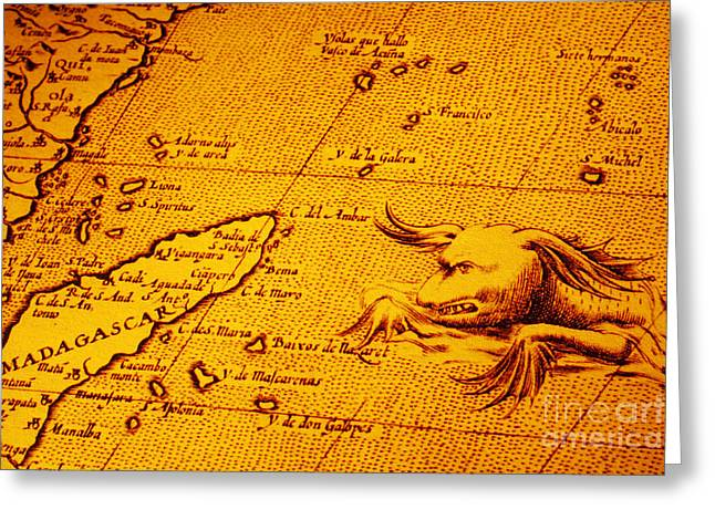 Sea Monster Greeting Cards - Old Map of Africa Madagascar With Sea Monster Greeting Card by Colin and Linda McKie