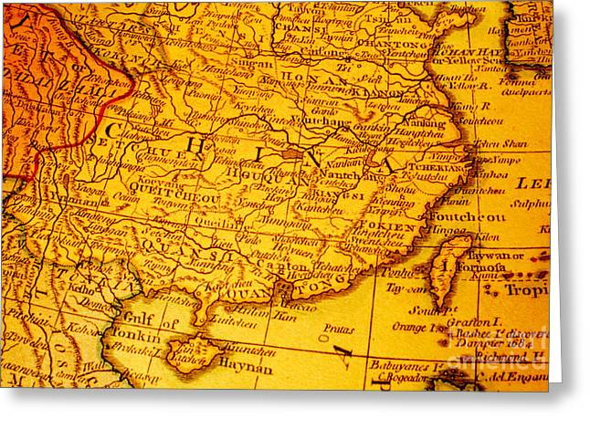 Old Map Of China And Taiwan Greeting Card by Colin and Linda McKie