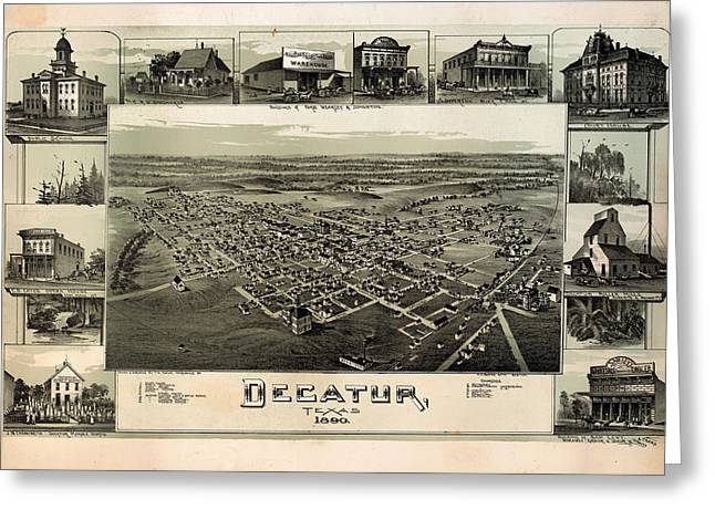 Featured Drawings Greeting Cards - Old Map of Decatur Texas 1890 Greeting Card by Mountain Dreams