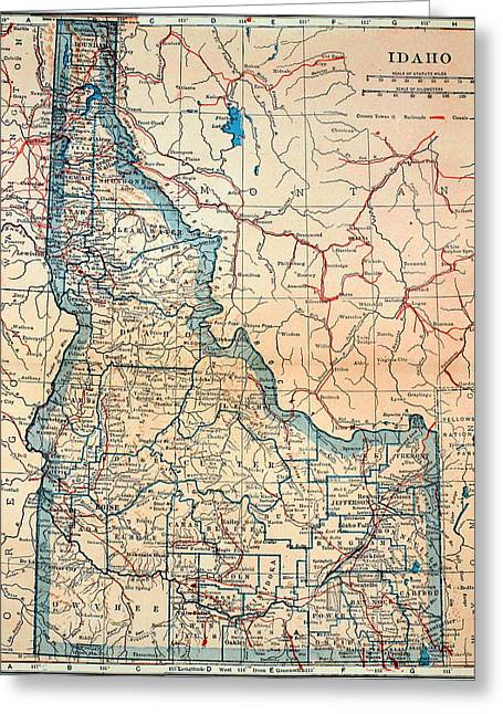 Old Country Roads Drawings Greeting Cards - Old Map of Idaho 1921 Greeting Card by Mountain Dreams