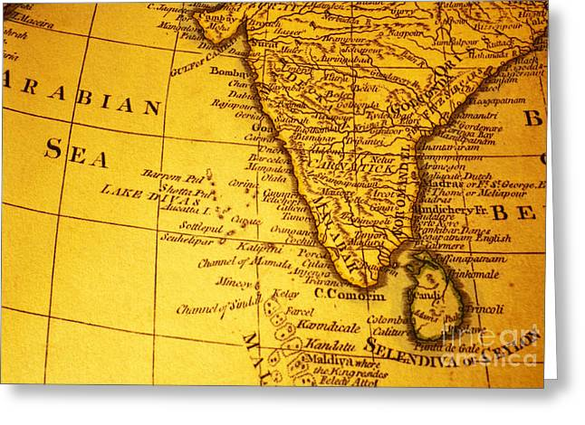Ceylon Greeting Cards - Old Map of India and Arabian Sea Greeting Card by Colin and Linda McKie