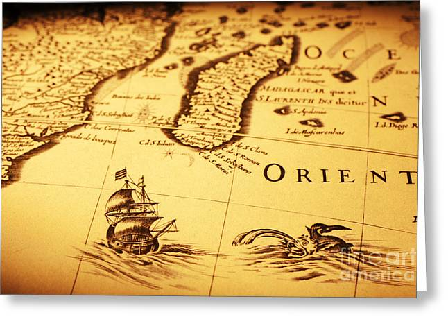 Sea Monster Greeting Cards - Old Map Sea Monster Sailing Ship Africa Madagascar Greeting Card by Colin and Linda McKie