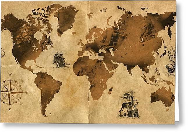 Europe Mixed Media Greeting Cards - Old Map Greeting Card by Stanislav Atanasov