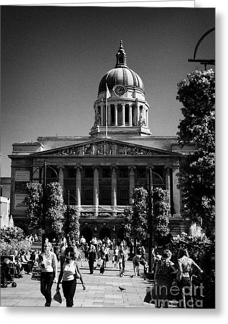 Nottingham Greeting Cards - Old Market Square Nottingham known as slab square with council house city hall  Greeting Card by Joe Fox