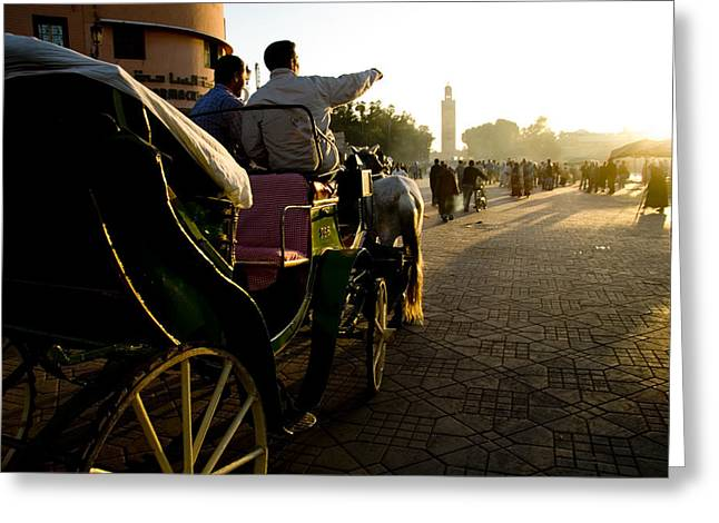 Horse Buggy Greeting Cards - Old Marrakesh Scene Greeting Card by David Smith