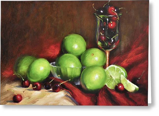 Fruit And Wine Greeting Cards - Old Master Cherry Limeade Greeting Card by Katherine Tucker