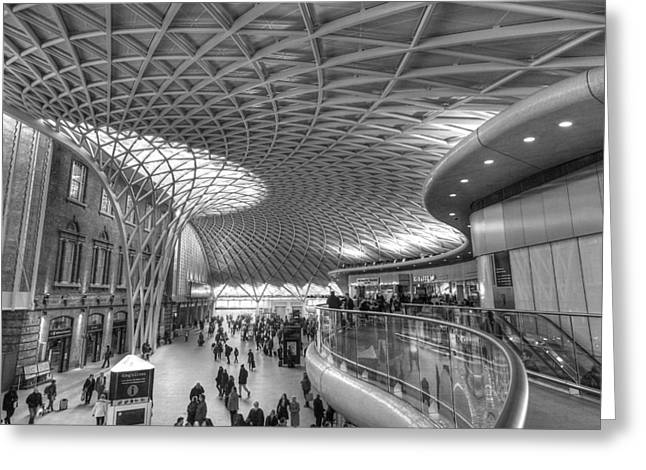 New Britain Greeting Cards - Old Meets New At Kings Cross Station London Greeting Card by Gill Billington