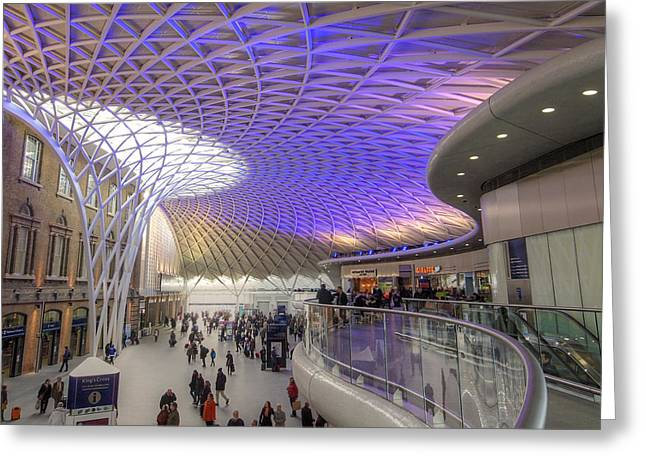 New Britain Greeting Cards - Old Meets New At Kings Cross Station London In Color Greeting Card by Gill Billington