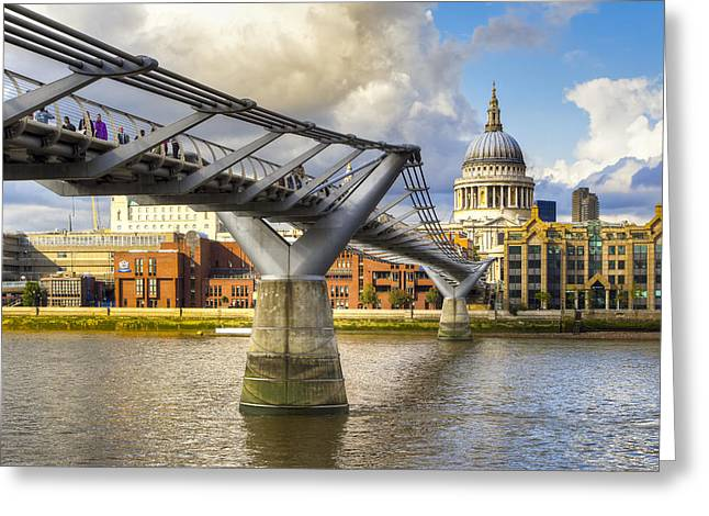 Saint Christopher Photographs Greeting Cards - Old Meets New - St Pauls and the Millennium Bridge Greeting Card by Mark Tisdale
