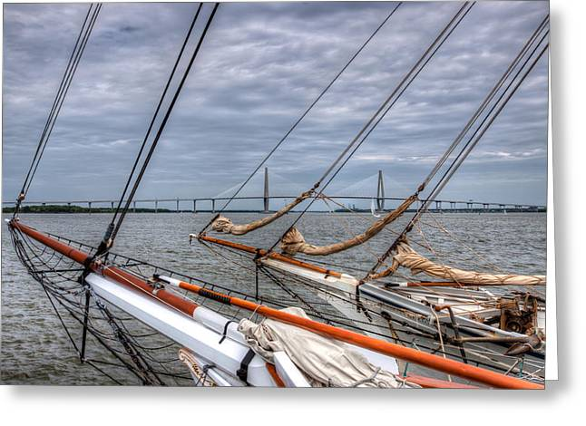Tall Ships Greeting Cards - Old Meets New Greeting Card by Walt  Baker