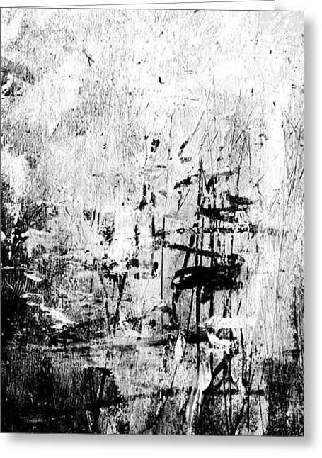 Negro Drawings Greeting Cards - Old Memories - Black and White Abstract Art by Laura Gomez - Vertical Size Greeting Card by Laura  Gomez