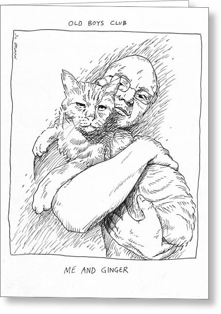 Cat Drawings Greeting Cards - Old Men Greeting Card by Steve Hunter