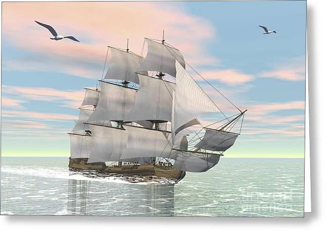 Historic Schooner Digital Greeting Cards - Old Merchant Ship Sailing In The Ocean Greeting Card by Elena Duvernay