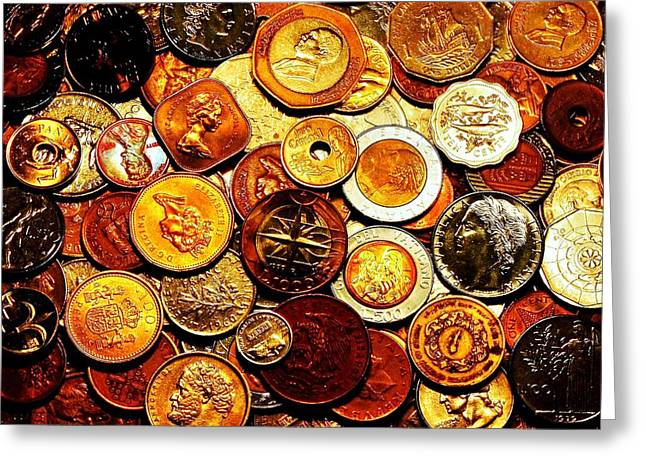Coins Greeting Cards - Old Metal Greeting Card by Benjamin Yeager