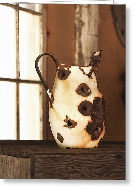 Bullet Holes Greeting Cards - Old Metal Pitcher Greeting Card by Art Block Collections