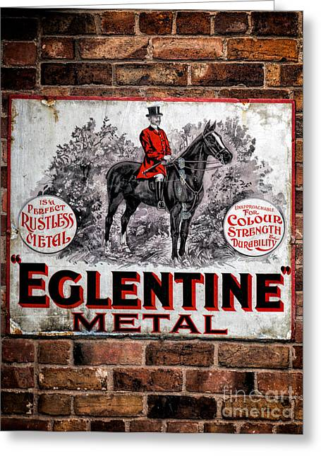 Horseman Greeting Cards - Old Metal Sign Greeting Card by Adrian Evans