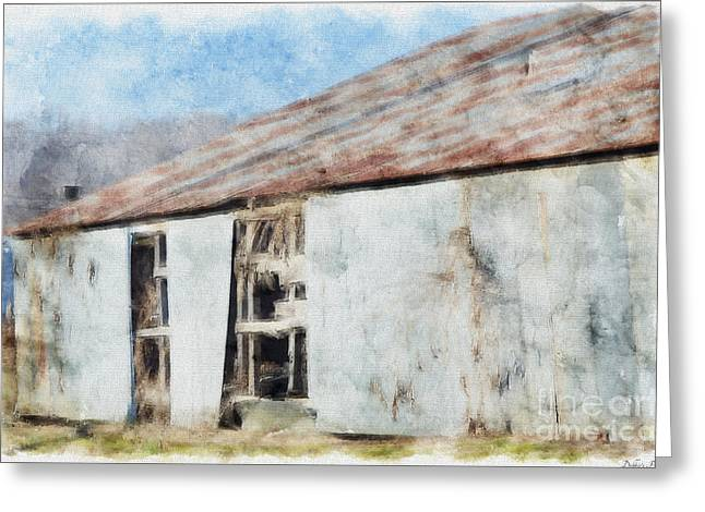 Old Metel Shed Painted Effect Greeting Card by Debbie Portwood