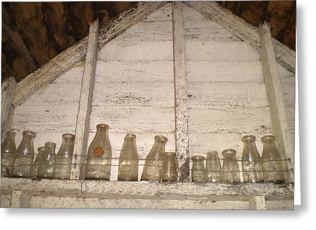 Bottle Of Milk Greeting Cards - Old Milk Bottles Greeting Card by Mary  Sablovs