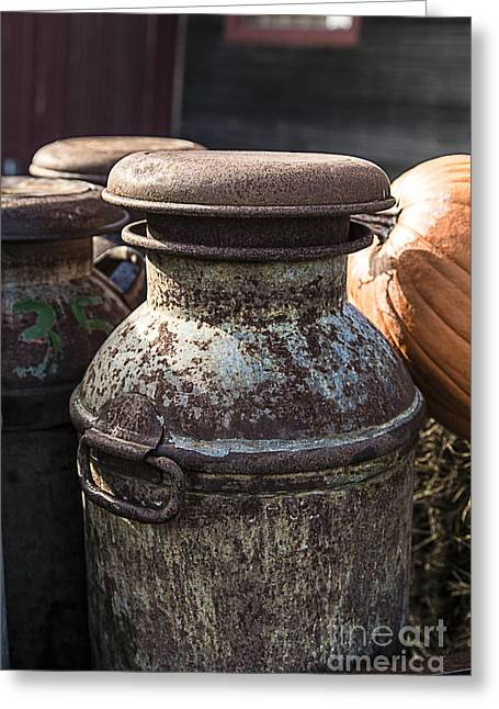 Farming Greeting Cards - Old Milk Cans Greeting Card by Edward Fielding
