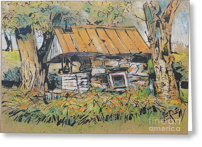 Franklin Farm Drawings Greeting Cards - Old Milk House Greeting Card by Larry Lerew