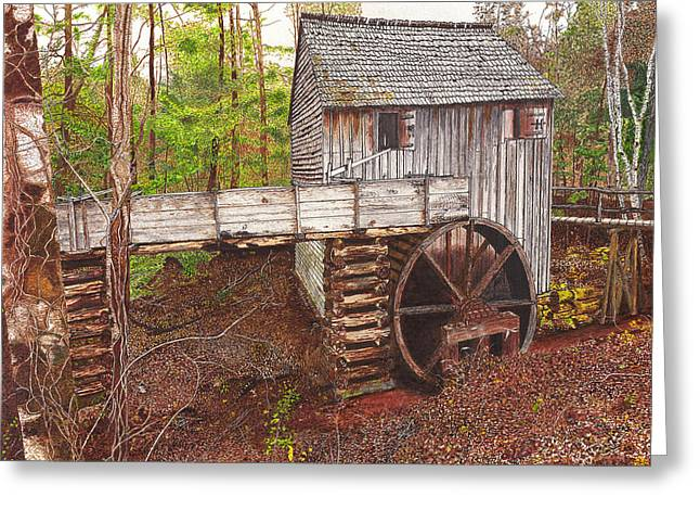 Historic Site Drawings Greeting Cards - Old Mill at Cades Cove Greeting Card by Cloud Farrow