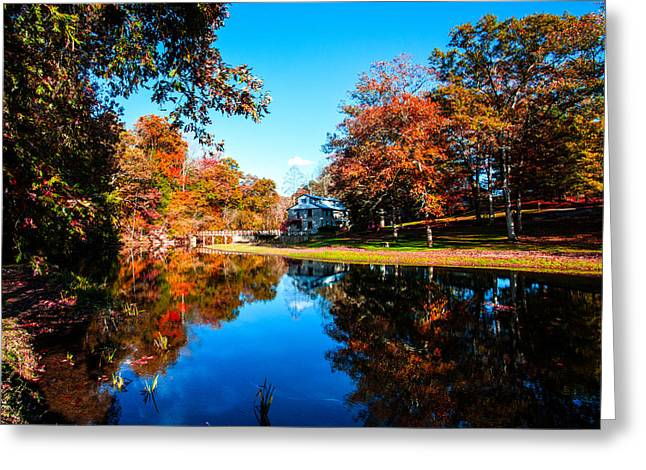 Mill In Woods Photographs Greeting Cards - Old Mill House Pond in Autumn Fine Art Photograph Print with Vibrant Fall Colors Greeting Card by Jerry Cowart