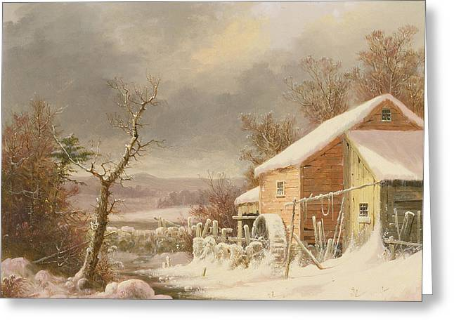 Wintry Greeting Cards - Old Mill in Winter Greeting Card by George Henry Durrie