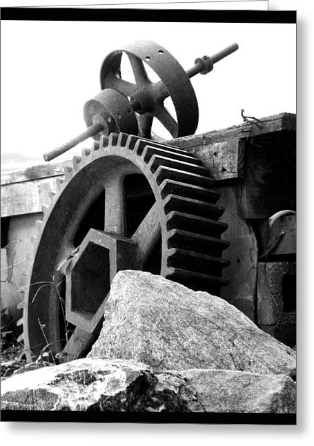 Old Mill Of Guilford Gears Black And White Greeting Card by Sandi OReilly