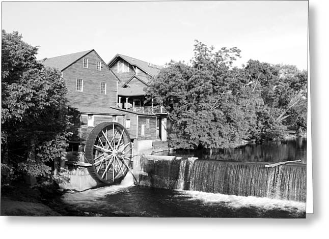 Tennessee Historic Site Photographs Greeting Cards - Old Mill Pigeon Forge Tennessee - BW Greeting Card by Cynthia Woods