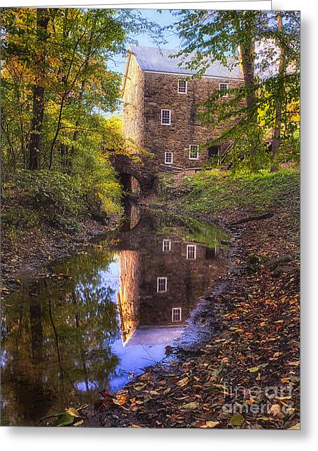 Chatham Greeting Cards - Old Mill Reflected in a Creek Greeting Card by George Oze