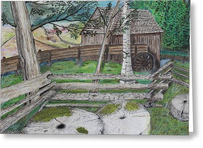 Tennessee Farm Drawings Greeting Cards - Old Mill Stones Greeting Card by David Cardwell
