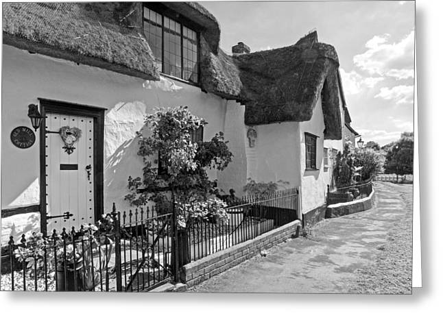 Thatch Greeting Cards - Old Mill Thatched Cottage BW Greeting Card by Gill Billington