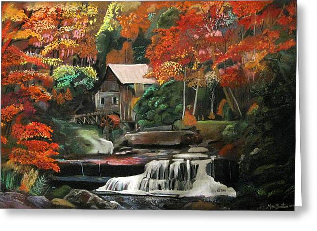Mills Pastels Greeting Cards - Old Mill Waterfall Greeting Card by Mike Benton