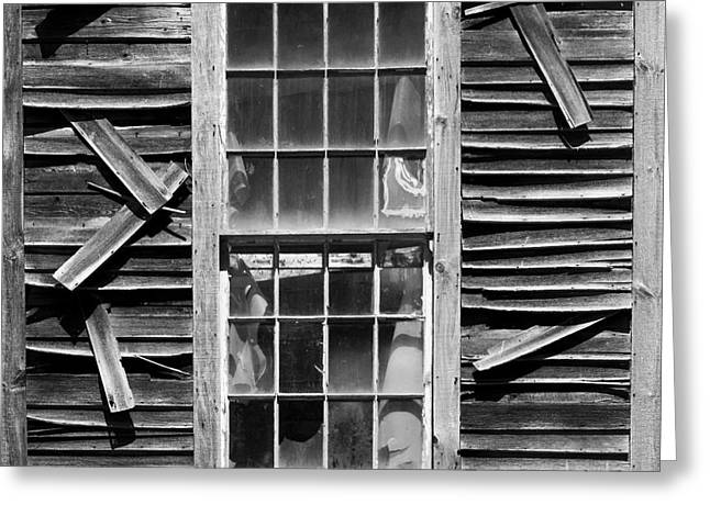 Manufacturing Greeting Cards - Old Mill Window BW SQ Greeting Card by David Gordon