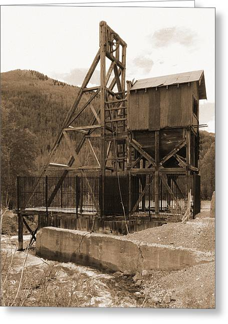 Mining Photos Greeting Cards - Old Mine Sepia Greeting Card by Alan Socolik