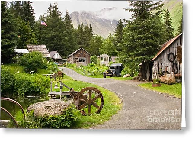 Alaskan Gold Mine Greeting Cards - Old Mining Alaskan Town Greeting Card by Richard Smith