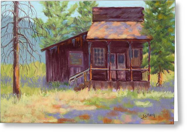Oregon Pastels Greeting Cards - Old Mining Store Greeting Card by Nancy Jolley