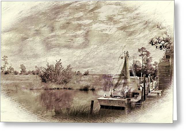 Shrimpers Greeting Cards - Old Miss Sue Greeting Card by Benanne Stiens