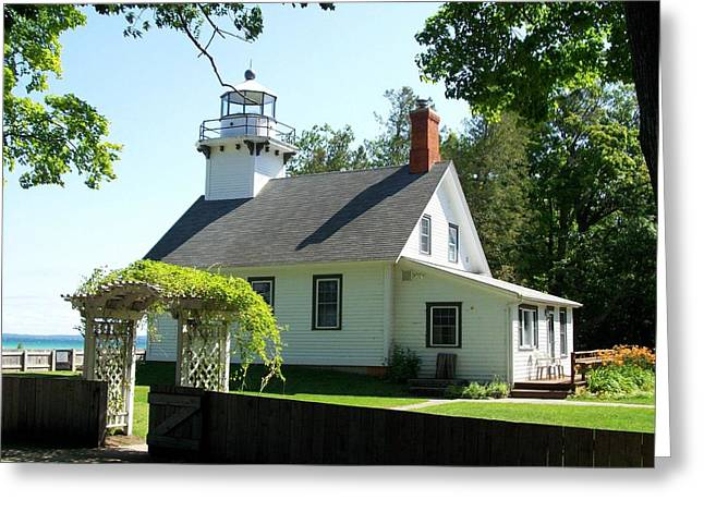 Traverse City Greeting Cards - Old Mission Lighthouse Greeting Card by Michelle Calkins
