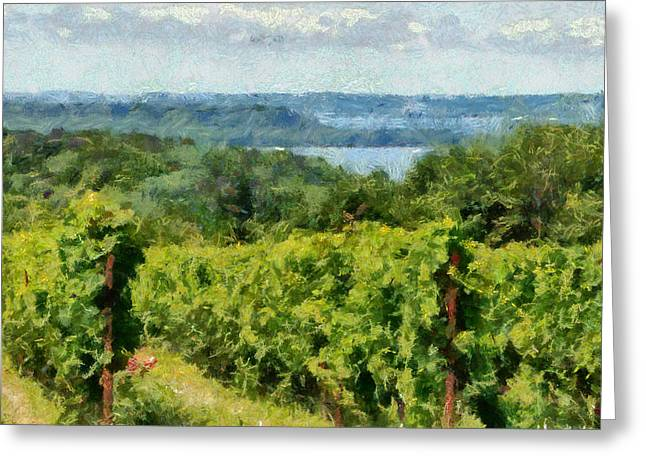 Grapevines Greeting Cards - Old Mission Peninsula Vineyard Greeting Card by Michelle Calkins