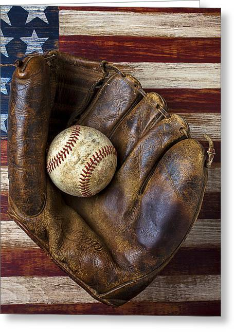 Sports Wear Greeting Cards - Old mitt and baseball Greeting Card by Garry Gay