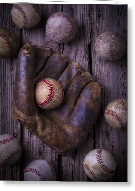 Rusty Nail Greeting Cards - Old Mitt and Worn Baseballs Greeting Card by Garry Gay