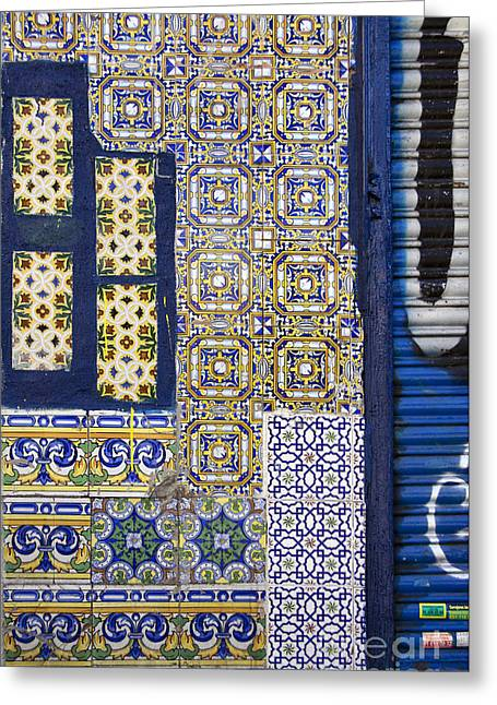 Decorate Greeting Cards - Old mixed geometric tiles in Madrid Greeting Card by RicardMN Photography