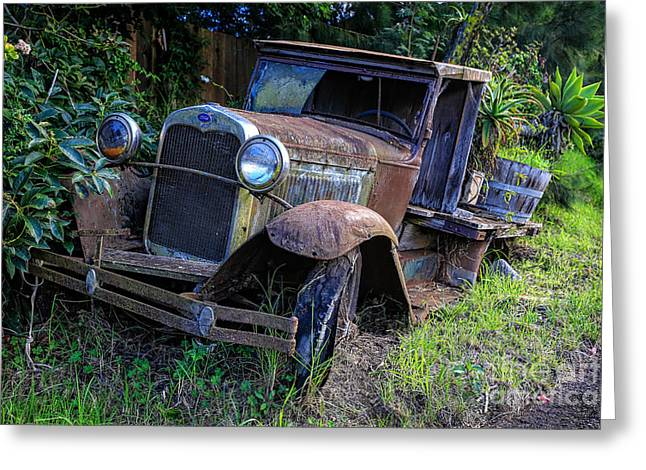 Engulfing Greeting Cards - Old Model T Ford in the Jungle Maui Hawaii Greeting Card by Edward Fielding