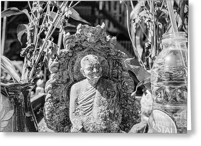 Buddhist Monks Greeting Cards - Old Monk Statue 2 Greeting Card by Dean Harte