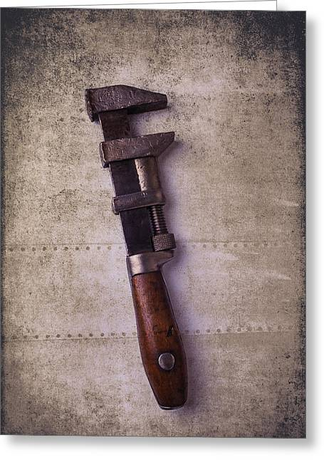 Industrial Concept Greeting Cards - Old Monkey wrench Greeting Card by Garry Gay