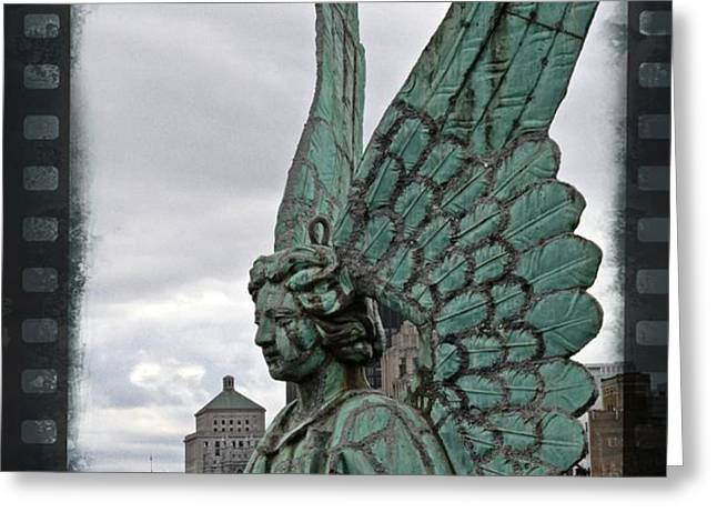 Old Montreal Angel Filmstrip Greeting Card by Alice Gipson